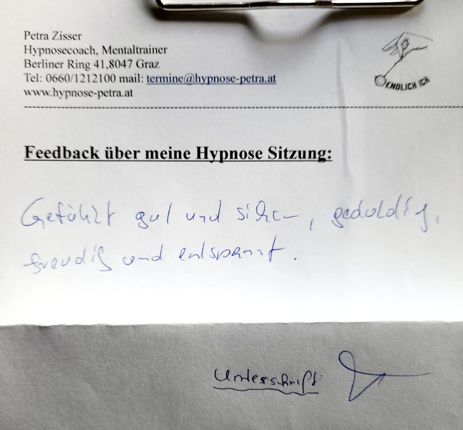 Feedback Meinung Hypnose Graz Petra Zisser