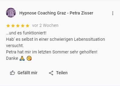Hypnose Graz Kundenmeinung Petra Zisser