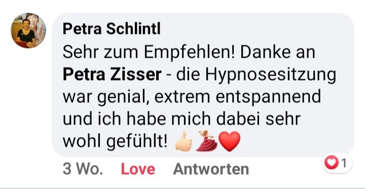 Feedback zur Hypnose in Graz von Petra Zisser
